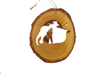 Olive Wood Ornament - Howling Coyote
