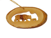 Olive Wood Ornament - Bear Family