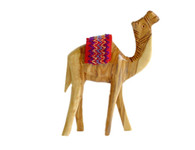 Olive Wood Camel With Red Saddle (4.5 inches in Height)