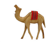 Olive Wood Camel With Red Saddle.(5 inches in Height)
