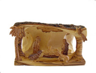 Olive Wood Bethlehem Cave-Medium (4.5 inches in Height x 5.5 inches in Width)