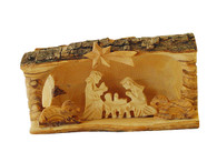 Olive Wood Bethlehem Cave Nativity-Small (3.5 inches in Height x 5 inches in Width).