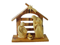 Olive Wood Holy Family- Baby Jesus Removable Arch W/ Stable