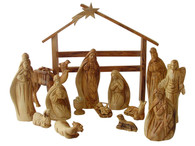 Intricate Olive Wood Nativity Set W/Stable & Camel.
