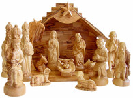 New Olive Wood Crown Nativity Set. (14 Pieces)