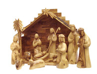 Olive Wood Nativity Set With Stable. Large Modern (14 Pieces Set).