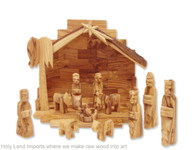 Olive Wood Miniature Set with Rustic Stable 12 pieces