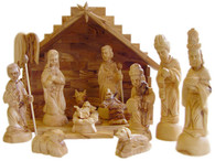 Olive Wood Nativity Set With Stable. Deluxe (15 Pieces Set)