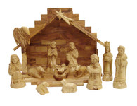 Olive Wood Nativity Set With Stable. Exquisite (14 Pieces Set)