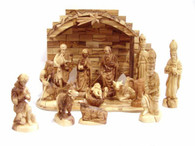 Olive Wood Crown Nativity Set (15 Pieces Set)