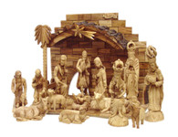 Olive Wood King's Nativity Set (15 Pieces Set)