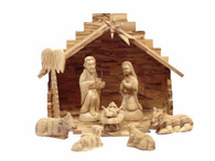 Olive Wood Holy Family With Stable (10 Pieces Set)