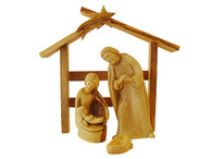Olive Wood Holy Family- Baby Jesus Removable W/ Stable