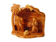 Modern Olive Wood Nativity Set With Stable. Figures Glued on.