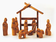 Olive Wood Modern Nativity Set with Stable- Miniature