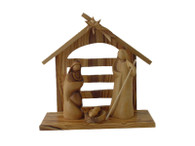 Modern Olive Wood Nativity Set With Arch Stable