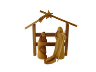 Modern Bethlehem Olive Wood Nativity Set With Stable