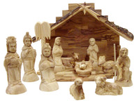 Olive Wood Nativity Set with Rustic Stable 12 pieces
