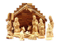 Olive Wood Nativity Set With Bark Stable. Deluxe (15 Pieces Set)