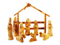 Olive Wood Nativity Set With Modern Stable. Deluxe (15 Pieces Set)