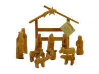 Olive Wood Nativity Set with Modern Stable. Statues are 4 inches height.