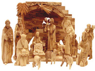 Unique Collector Olive Wood Nativity Set With Stable Design (15 Pieces Set)