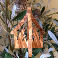Olive Wood 3-D Nativity Ornament
