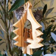 Olive Wood 3D Tree Ornament with Nativity small