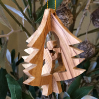 Olive Wood 3D Tree Ornament with Angel small