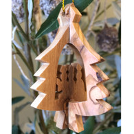 Olive Wood 3-D Tree Ornament with Three Kings small