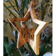 Olive Wood 3-D Star Ornament with Nativity Small