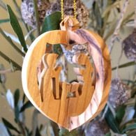 Olive Wood 3-D Nativity Ornament small
