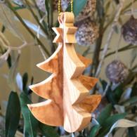 Olive Wood 3-D Tree Ornament small