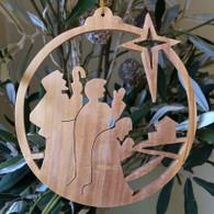 Olive Wood Three Kings looking at star ornament