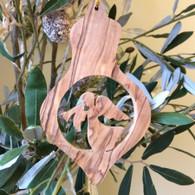 Olive Wood Angel Ornament