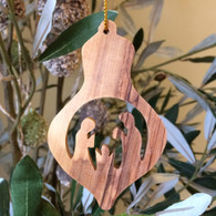 Olive Wood Holy Family Ornament