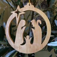 Olive Wood  Round Nativity Ornament