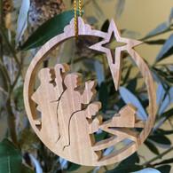 Olive Wood Three Kings following Star ornament