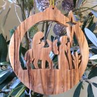 Olive Wood Mary & Joseph Ornament
