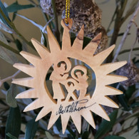Olive Wood Pointed Star with Holy Family