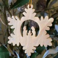 Olive Wood Snowflake Ornament with Holy Family