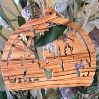 Olive Wood Birth of Jesus Ornament