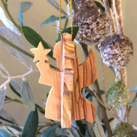 Olive Wood 3-D Angel of Hope Ornament