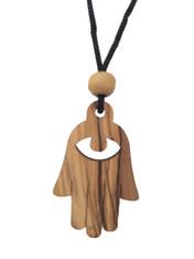 Olive Wood Hamsa Charm Solid Wood
