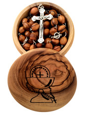 Olive Wood First Communion Gift Set - First Communion Box and Rosary from Bethlehem, the Holy Land