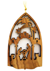 Bethlehem Olive Wood Nativity Ornament (LZO-114)