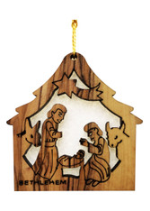 Bethlehem Olive Wood Nativity w/star Ornament (LZO-120)