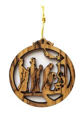 Olive Wood Three Kings Nativity Gifts Ornament (LZO-134)
