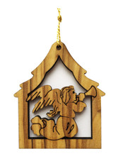 Bethlehem Olive Wood Angel Ornament (LZO-136)