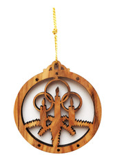 Bethlehem Olive Wood Christmas Candles Ornament (LZO-139)